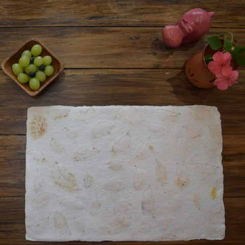 cream benjamin leaf imprint  recycled paper tablemat