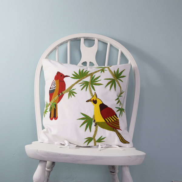 "Tropical Birds, Embroidered Cushion Cover 16"" x 16"""