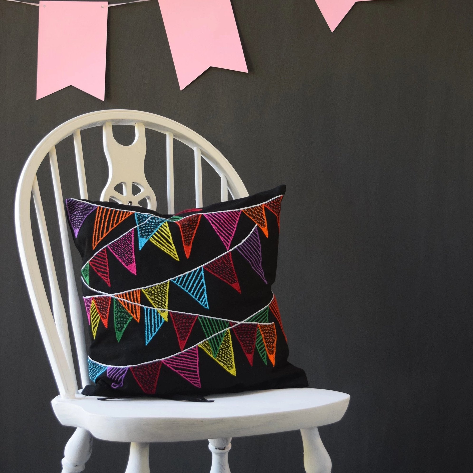 Colourful Bunting on Black Cushion Cover