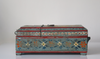 Light blue barber box with floral motifs - side view