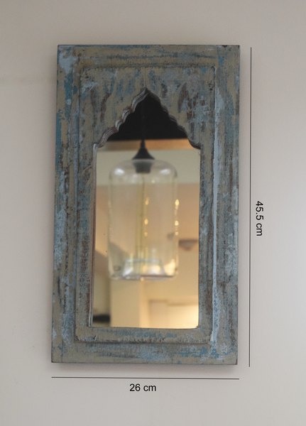Rustic blue, cream and grey distressed mirrors on wall - option 2 with measurements