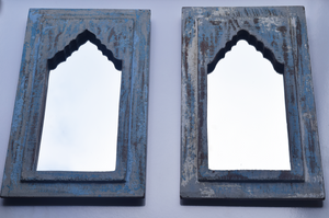 Rustic blue, cream and grey distressed mirrors -pair