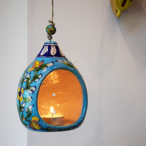 Blue floral hanging tealight holder