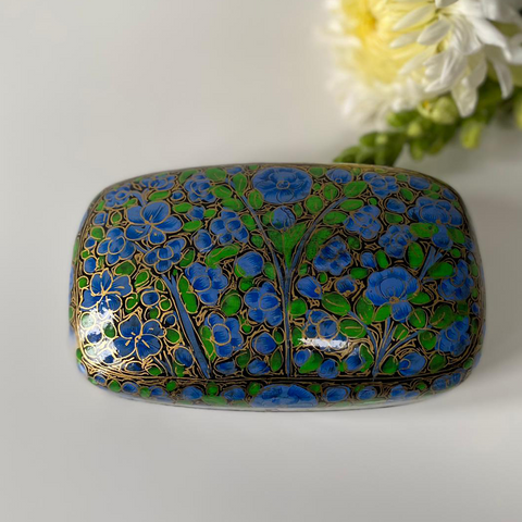 Blue and Green Floral Paper Mache box