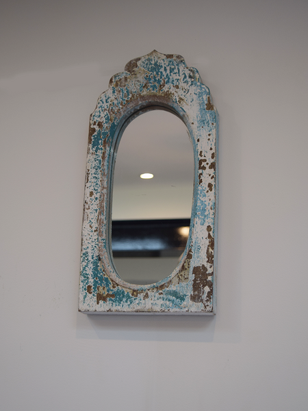 distressed blue dome mirror