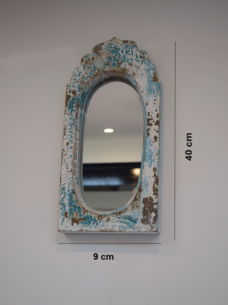 distressed blue dome mirror with measurements