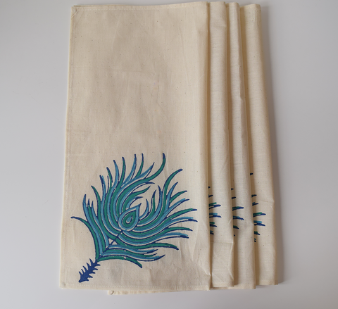 Peacock feathered table linen set- blue on cream napkins