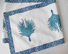 Peacock feather pattern block printed table runner -186 cm x 37 cm