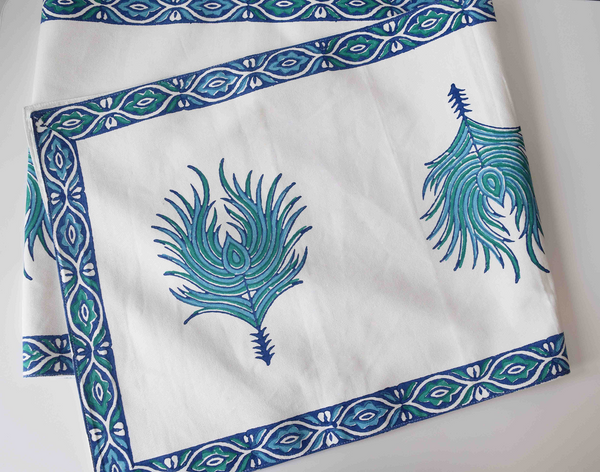 Peacock feathered table linen set- blue on white runner