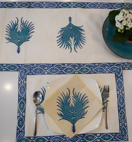 Peacock feathered table linen set- blue on white- runner, tablemat and napkin