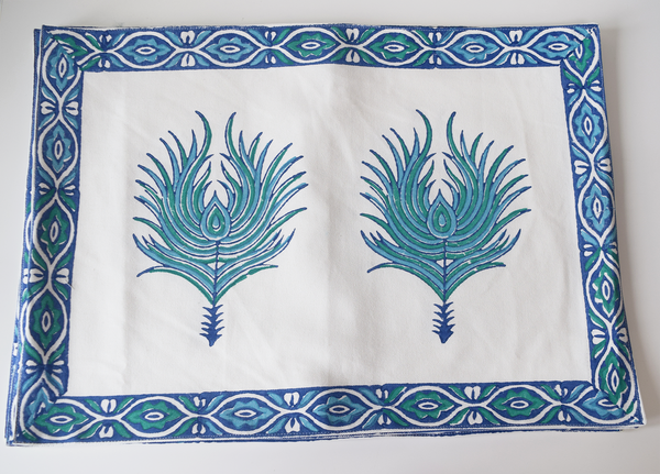 Peacock feathered table linen set- blue on white tablemat