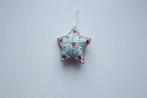 Light blue embroidered Christmas decoration