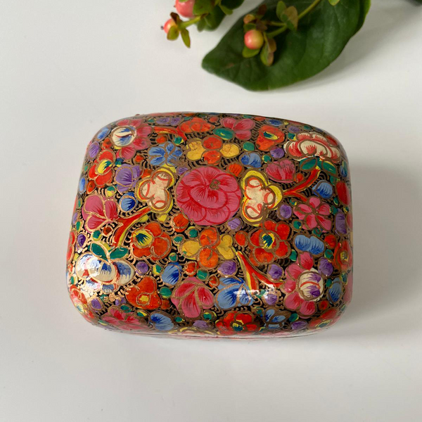 Bright Multicoloured Floral Paper Mache Box
