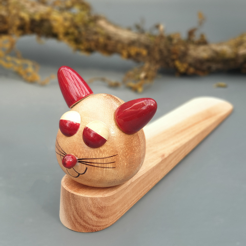cat wooden door stopper