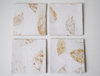 cream Benjamin imprint coasters x4