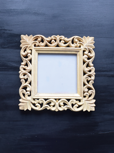 carved unfinished picture frame -26 x 26 cm