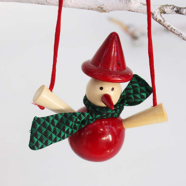 red snowman on a swing ornament