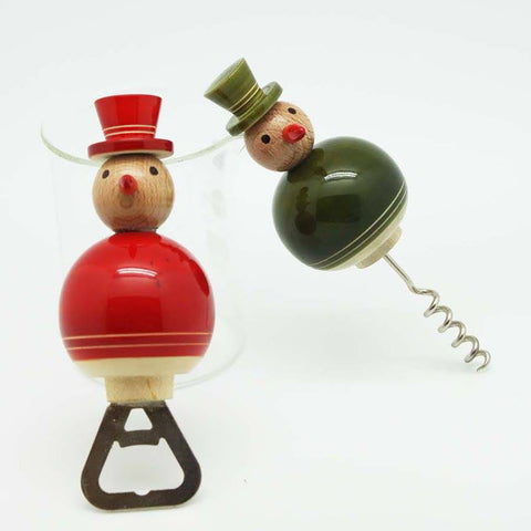 Red and Green Snowmen Bottle and Cork Opener Set