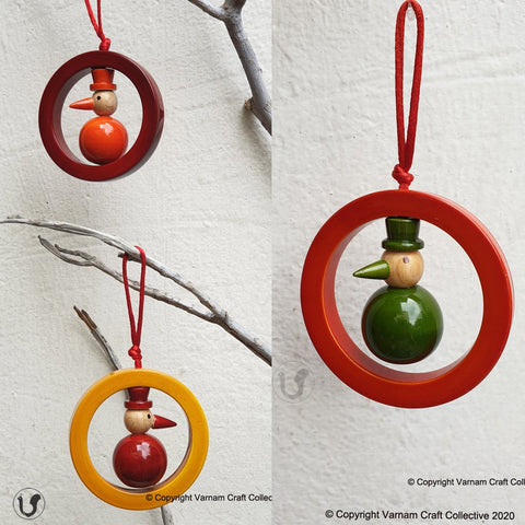 yellow, red and orange wooden snowman Christmas ornaments