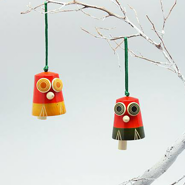 yellow-orange and green-orange owl bells