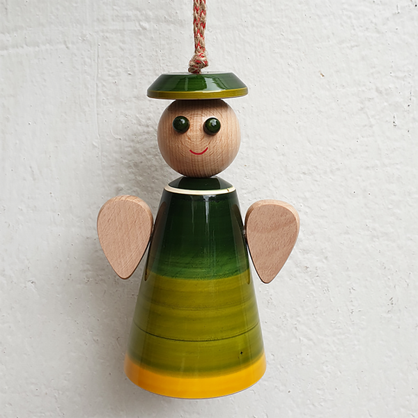 Green wooden angel