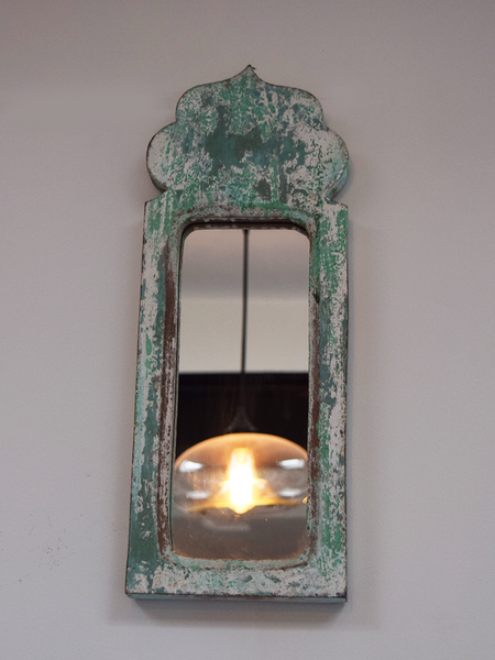 Dome shaped green blue, distressed mirror