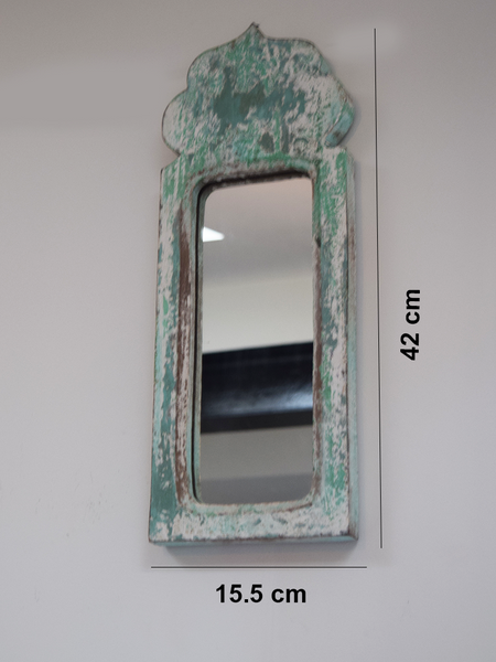Green blue, distressed mirror with measurements