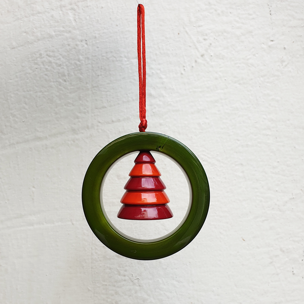 green ring with a red orange Christmas tree
