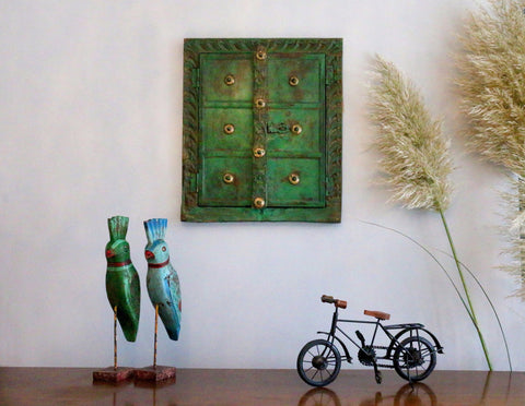 Vintage green window in a contemporary setting