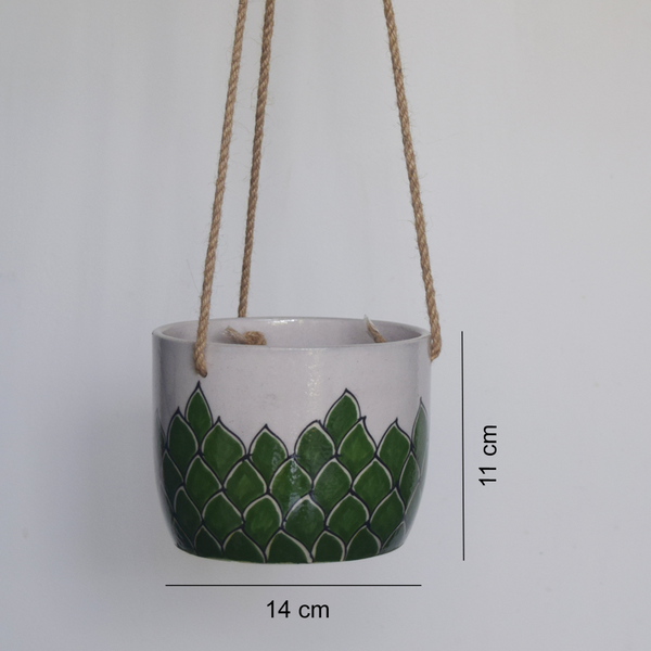Phool, green and white floral patterned hanging planter -with measurements