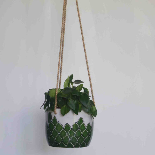 Phool, green and white floral patterned hanging planter- with plant