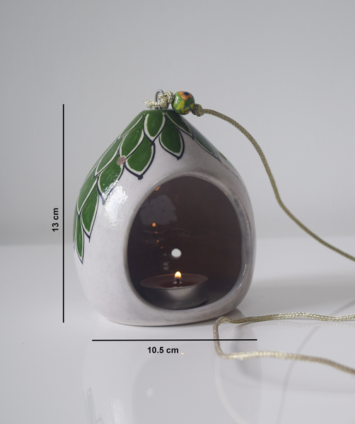 with measurements- green and white hand painted tealight holder, including green beads on string