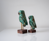 Set of 2 green distressed wooden owls - rear view
