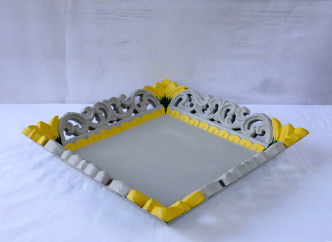Carved wood tray-grey and yellow