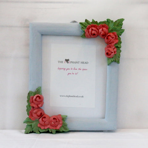 Teak wood rose picture frame-light blue and pink