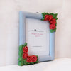 light blue and peach roses picture frame side view