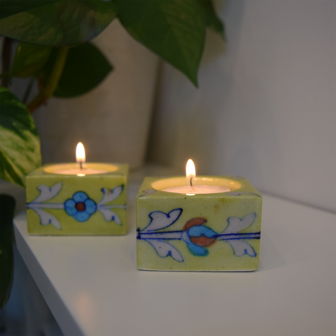 lime green square floral tealight holders