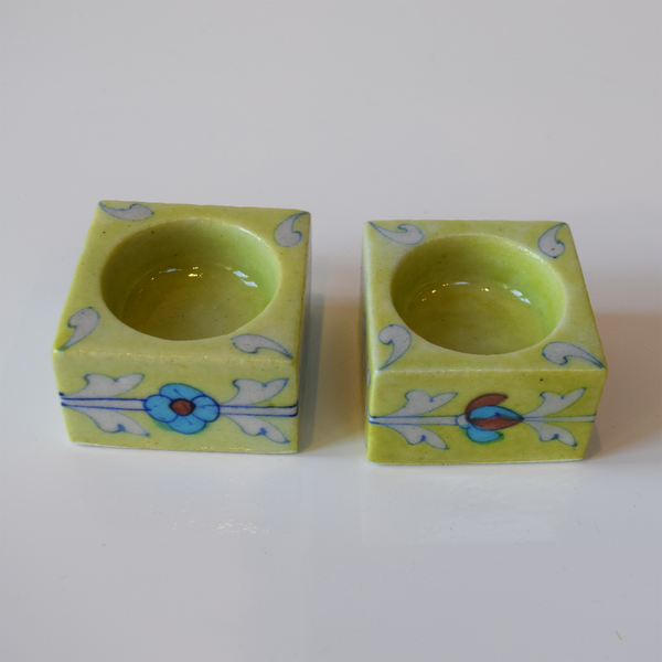 Lime Green Floral (Square), Diyas/Tealight holders