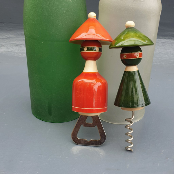 Green and orange Madhatters Bottle and Cork Opener Set (pair)