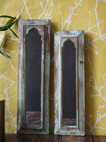 Rustic mint distressed mirrors - pair or single