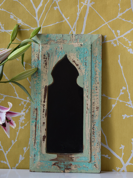 Rustic mint green and yellow mirror - 40 cm x 21 cm