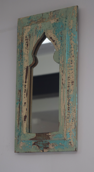 Rustic mint green and yellow mirror -side view
