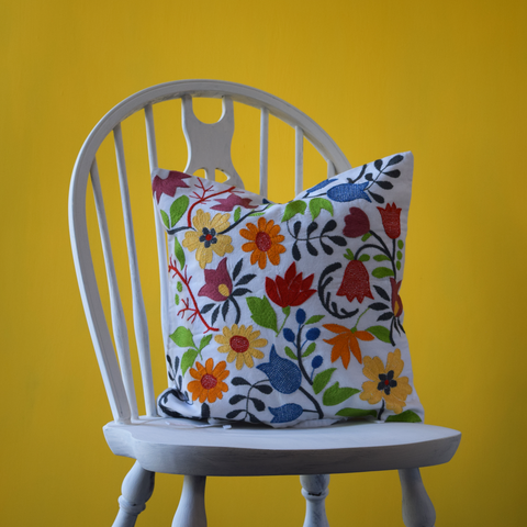 "Vibrant Florals, Embroidered Cushion Cover 16"" x 16"""