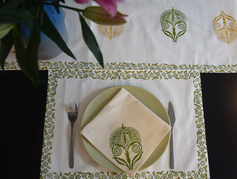 Mustard and green block printed table linen set