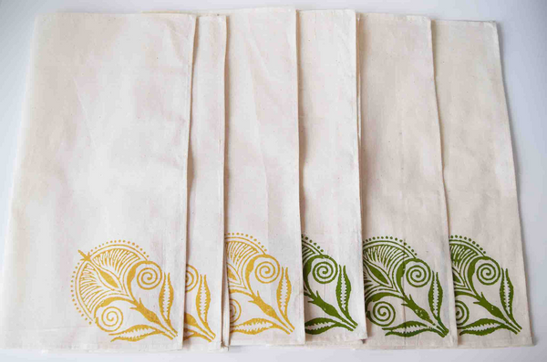 Mustard and green block print on white, napkins set of 6