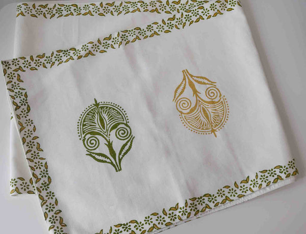 Mustard and green block print on white, table linen runner