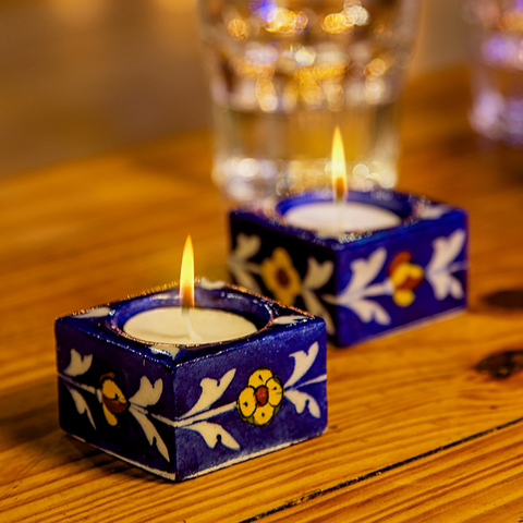 Navy square shaped floral diyas/ tealightholders