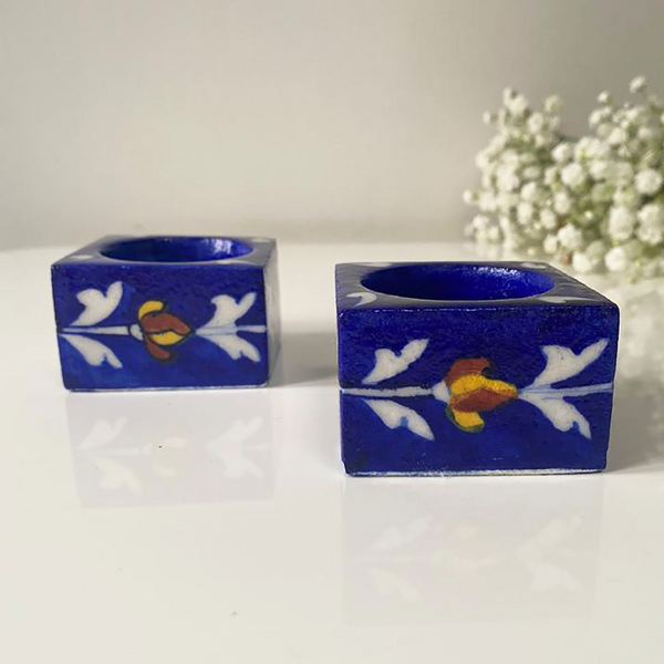 Navy square shaped floral tealightholders