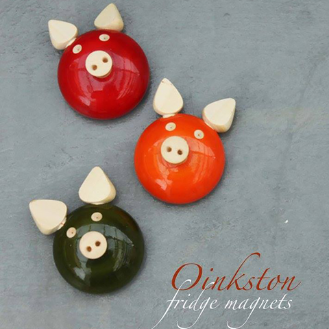 red, green, orange oinkston fridge magnets