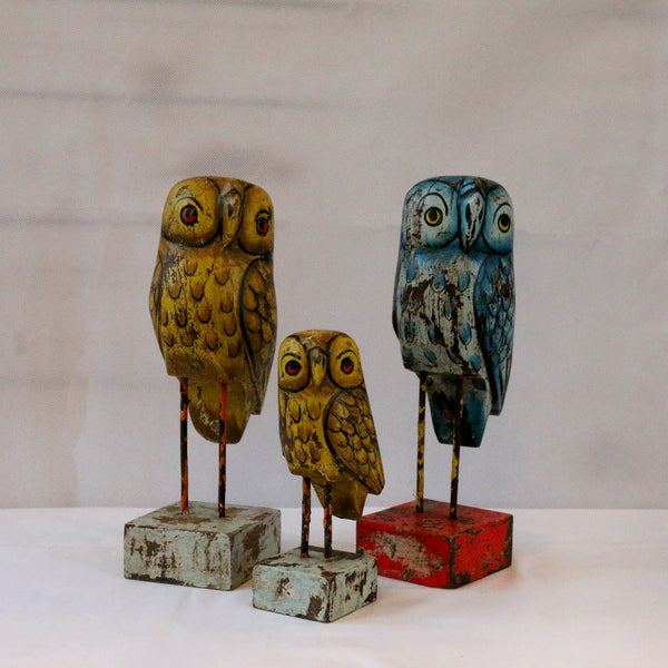 set of 3 owls against a white background